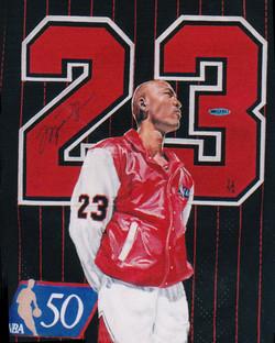Michael Jordan painted jersey
