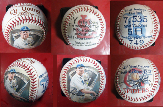 Cy Young multi panel baseball