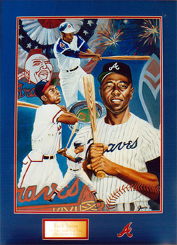 Hank Aaron framed signed painting