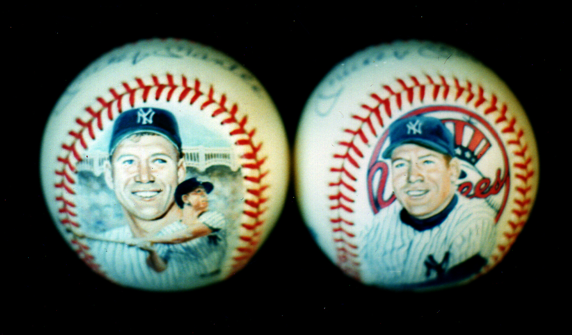 Mickey Mantle painted baseballs