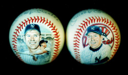 Mickey Mantle painted baseballs