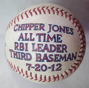 Chipper Jones game used painted baseball