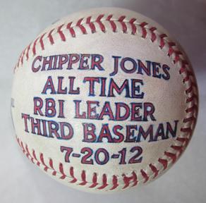 Chipper Jones game used painted baseball
