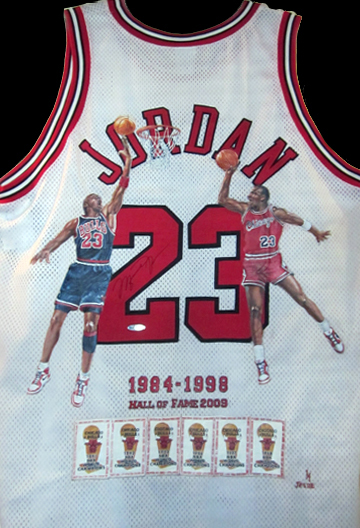 Michael Jordan painted jersey