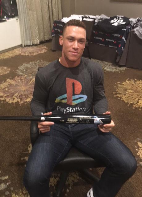 Aaron Judge holding Jessie Art bat