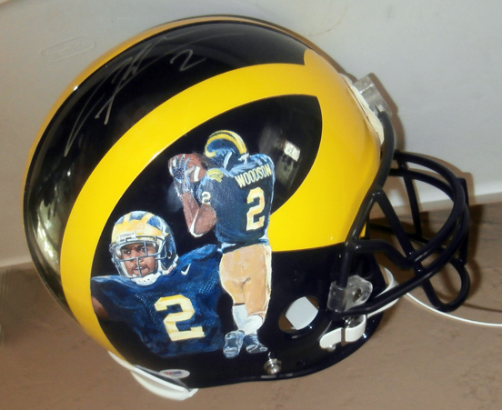 Woodson painted football helmet
