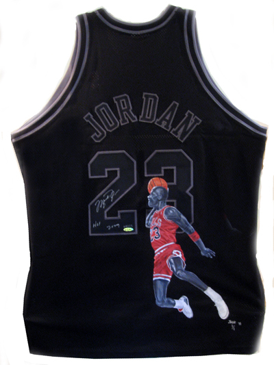 Michael Jordan painted black jersey