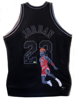 Michael Jordan painted black jersey