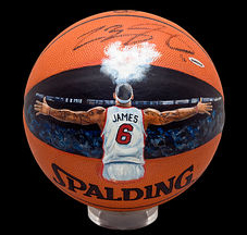 Lebron James painted basketball