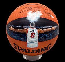 Lebron James painted basketball
