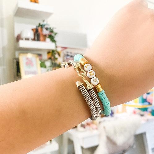 Aqua Custom Heishi Bracelet
