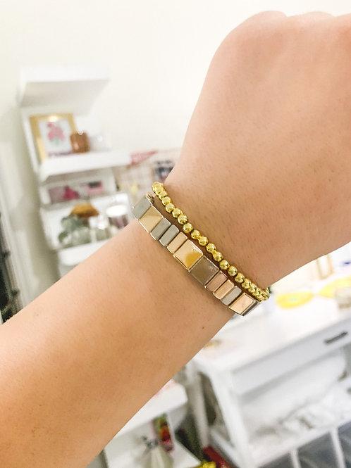 Gold and Silver Tile Bracelet