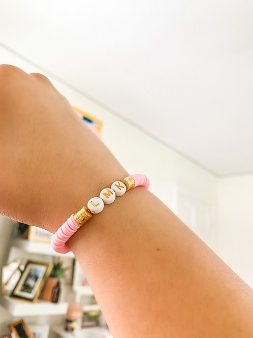 Custom Light Pink & Gold Bracelet