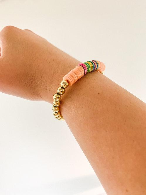 Peach & Gold Heishi Bracelet