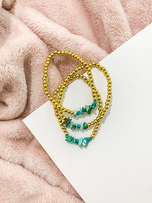 Gold & Turquoise Beaded Set