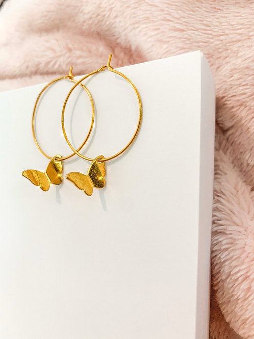 Large Butterfly Wire Hoops