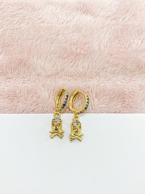 Double Pave Skull Charm & Huggie Hoops