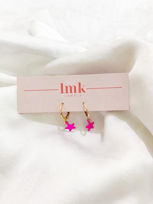 Pink & Gold Huggie Hoops