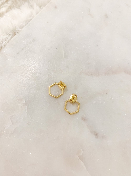 Gold Hexagon Studs