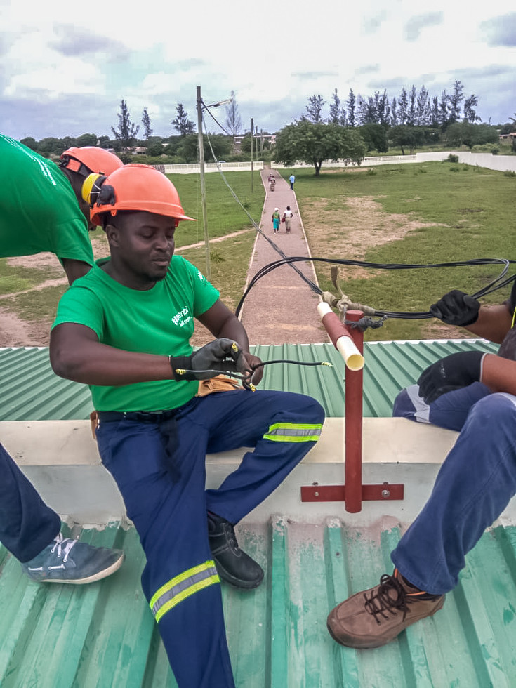 Jembi infrastructure team revamping the electrical network in one of the POC pilot sites