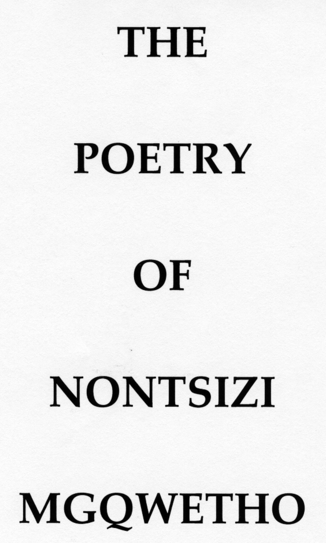Nontsizi Mgqwetho Poetry