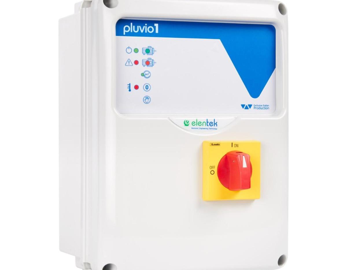 Quadro elettrico specifico per impianti prima pioggia con sensore pioggia Pluvio Elentek