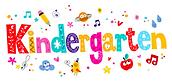 Pencils, apples around the word kindergarten