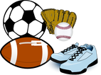 soccer ball, football, sneakers, baseball