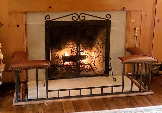 Square Dip club fender fireplace bench at the Glendorn