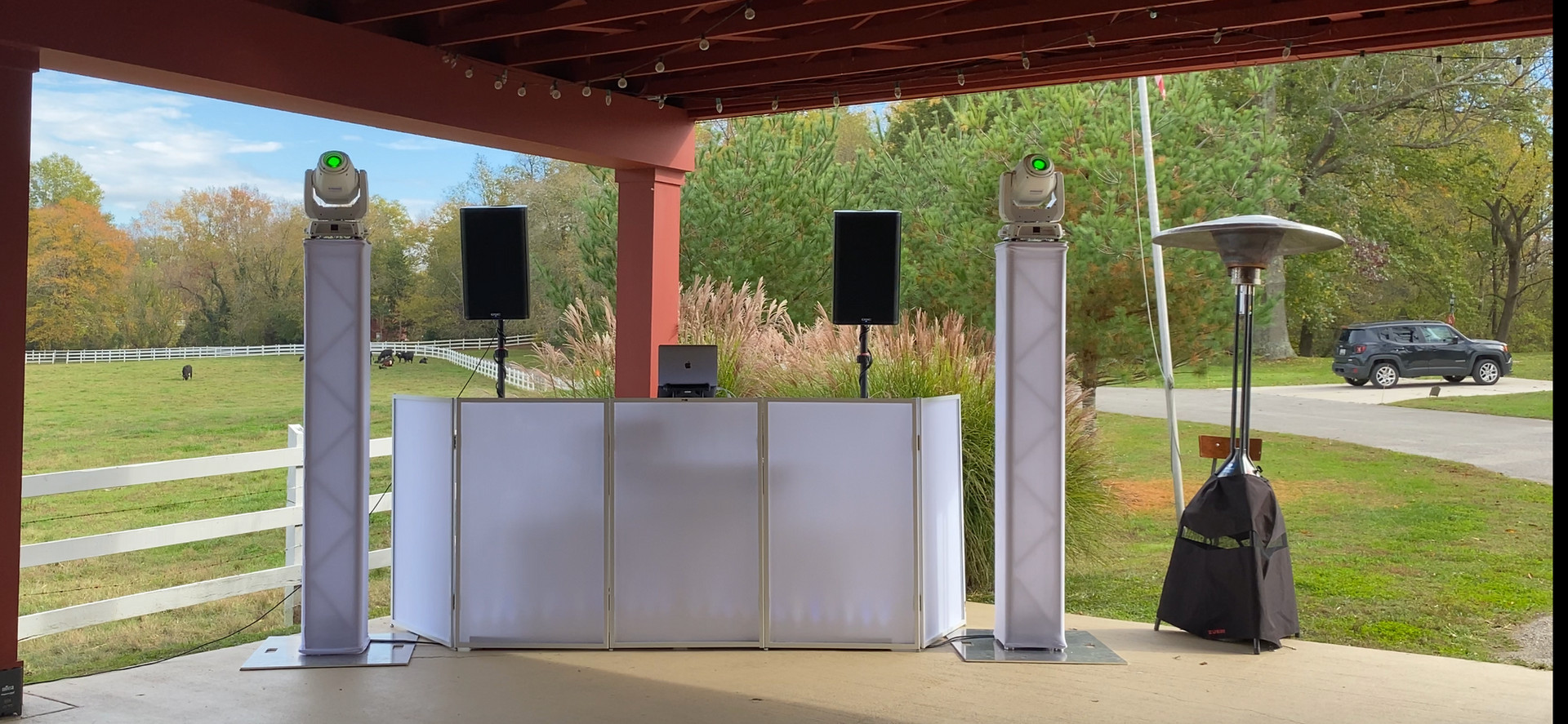DJ Booth complete with lighting and patio heater