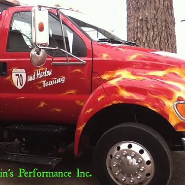 I-70 Harlan Red Flame Tow Truck