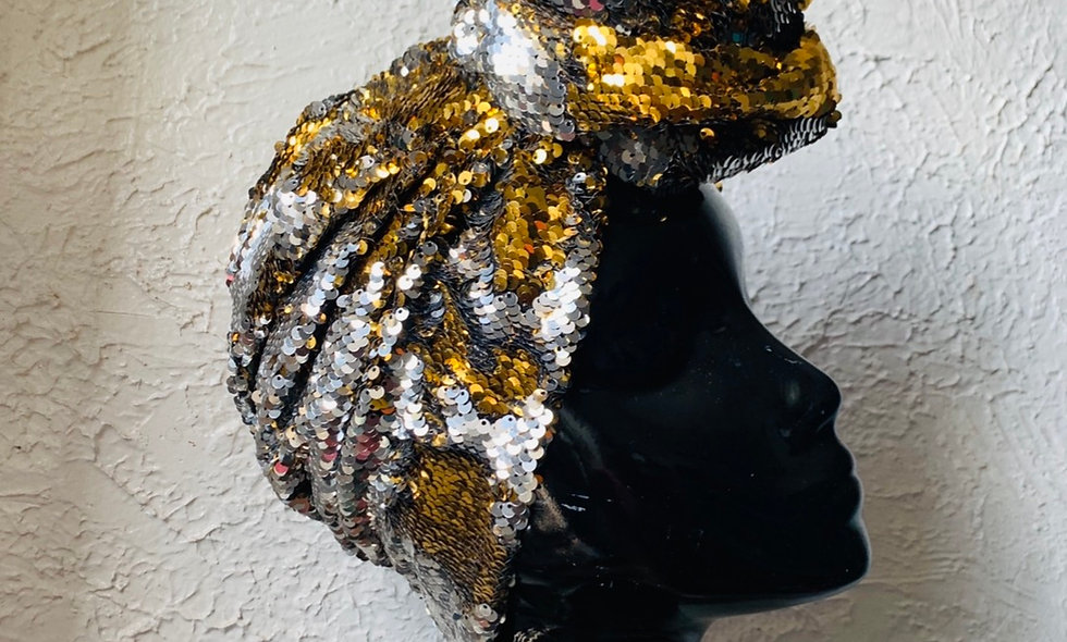 The ASHAKA GIVENS Reversible Sequin Pre-Tied Turban