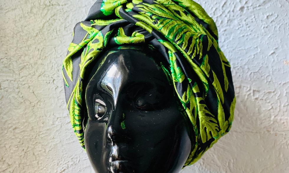 Brocade No-Tie Turban Wrap (Lined)