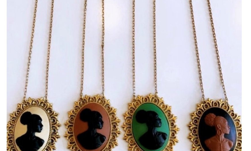 Black Cameo Medallion Necklace