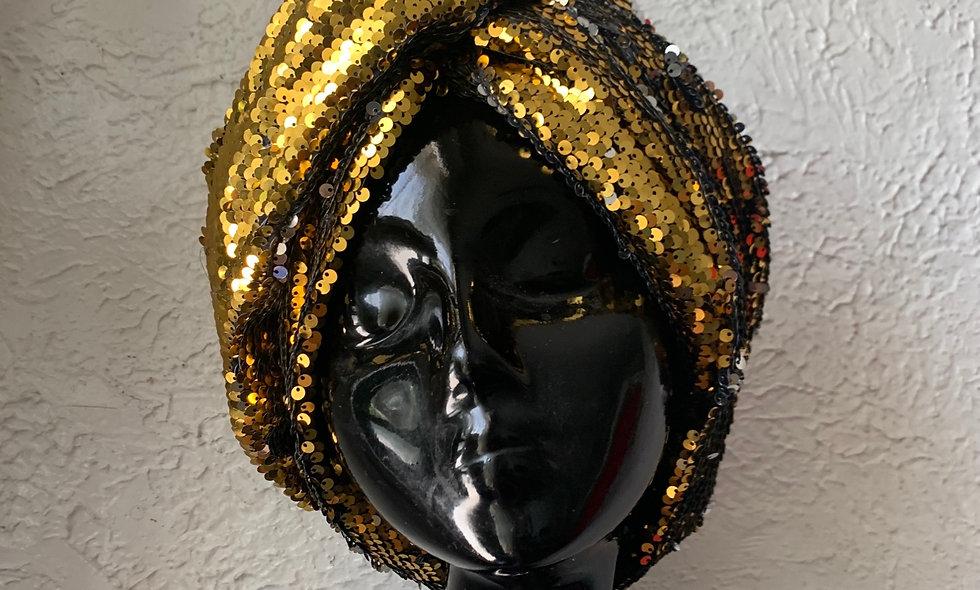 The ASHAKA GIVENS Reversible Sequin Turban Wrap