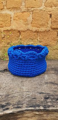 Cesta Crochê Azul