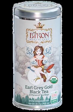 Earl Grey Gold Organic Black Tea - Large Tin - 12 Biodegradable Pyramid Sachets