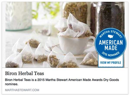 Biron Herbal Teas is an American Made Martha Stewart Nominee