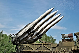 Air defense missiles on position against