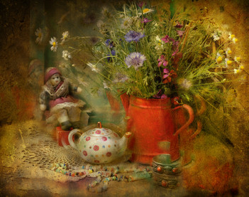 Still life with red coffee pot