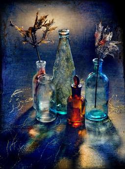 Still life with little chemist's bottles