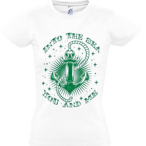 """Damen T-Shirt Weiß Aufdruck """"INTO THE SEA"""" Grün"""