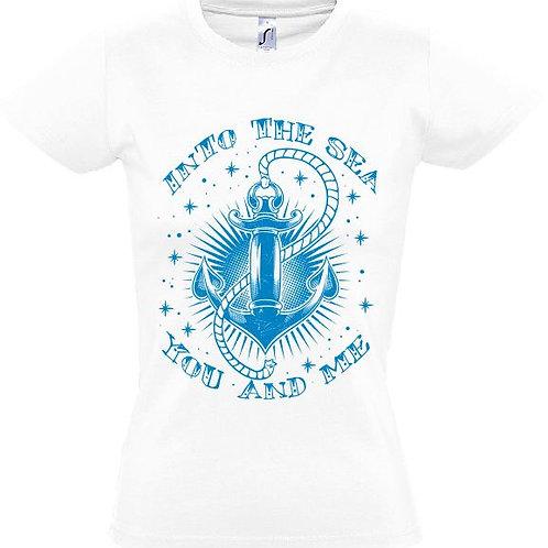 """Damen T-Shirt Weiß Aufdruck """"INTO THE SEA"""" Blau"""