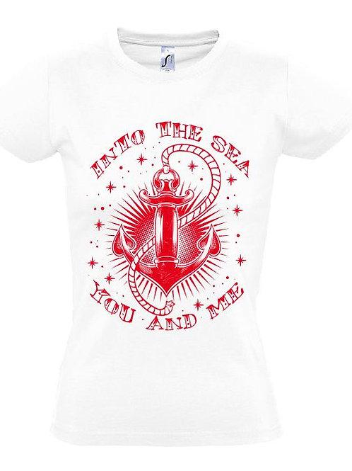 """Damen T-Shirt Weiß Aufdruck """"INTO THE SEA"""" Rot"""
