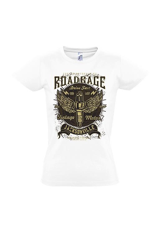 """Damen T-Shirt Weiß Aufdruck """"ROAD RAGE"""""""