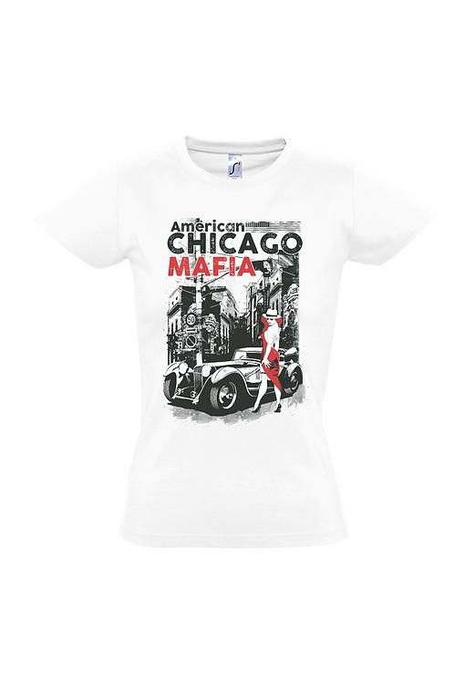 """Damen T-Shirt Weiß Aufdruck """"CHICAGO MAFIA"""""""