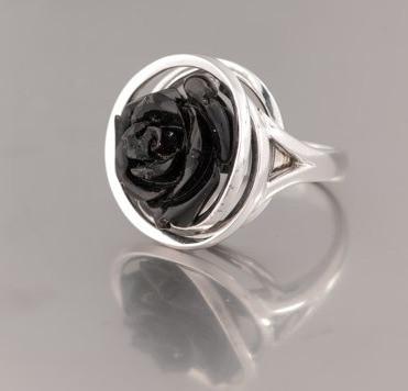 Ring Weißgold schwarze Rose