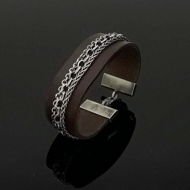 Armband Leder Silber