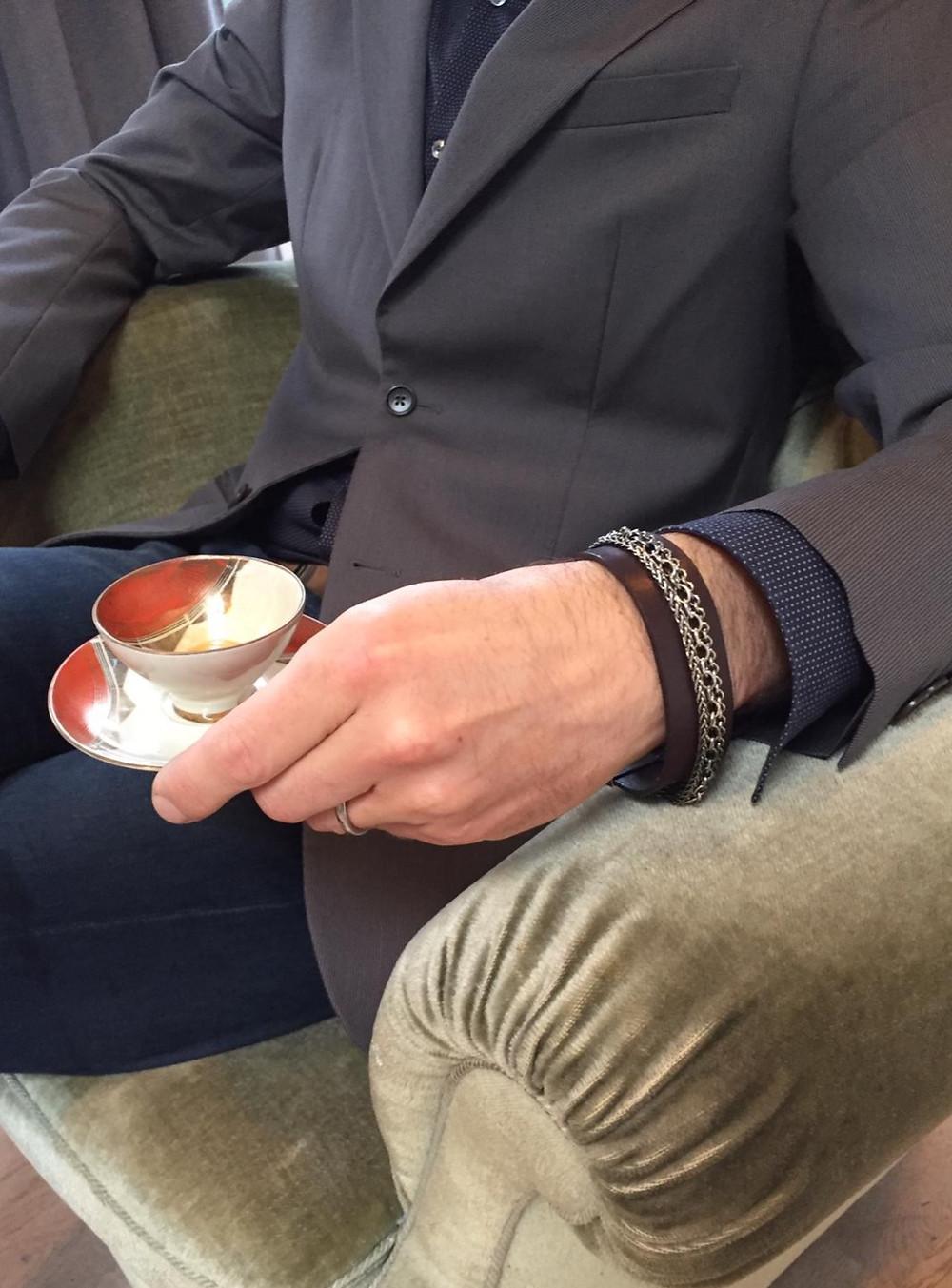 Handgemacht Leder Armband Herrenharmband Männerschmuck Silber Armband
