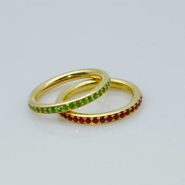 Ring Gelbgold Saphir Tsavorit